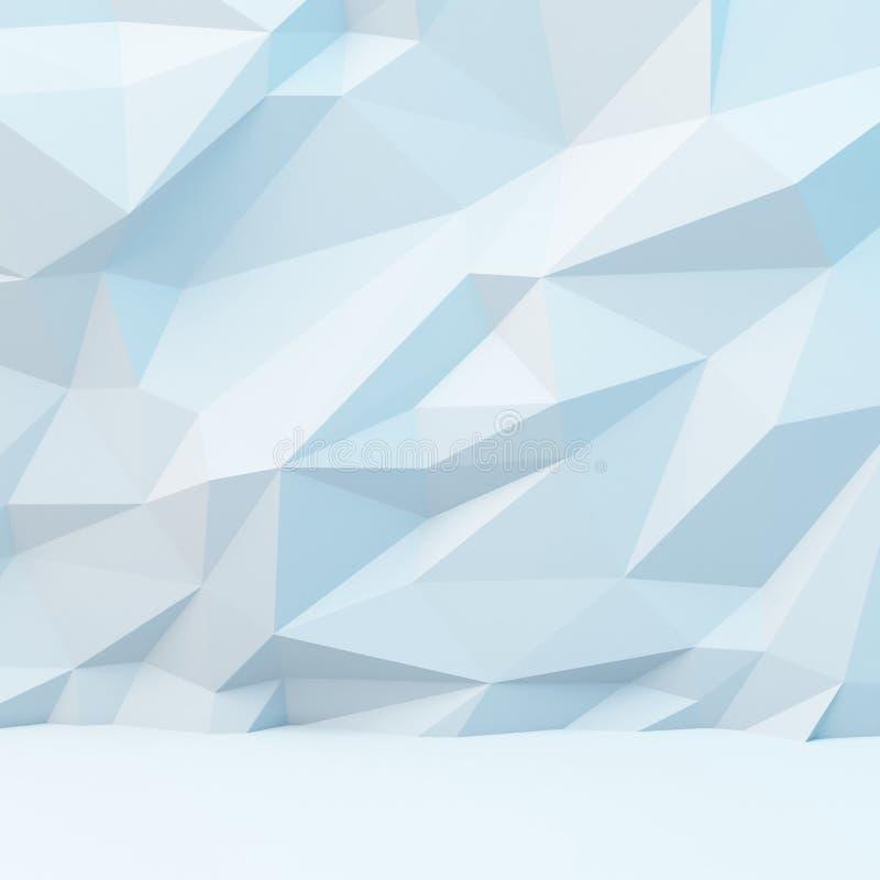 与多角形样式的抽象白色背景 3d柜栏图象牌照 向量例证