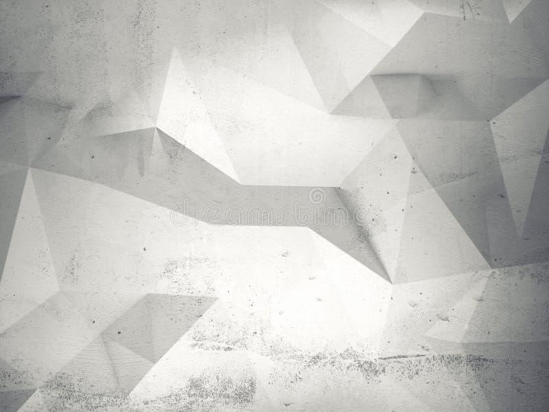 与多角形样式的抽象白色3d内部在墙壁上 皇族释放例证