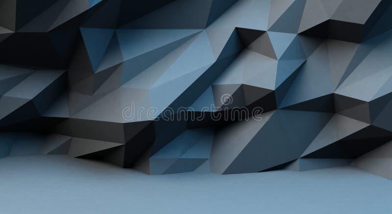 与多角形样式的抽象黑背景 3d柜栏图象牌照 皇族释放例证