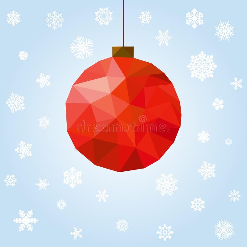 与多角形球的新年和圣诞节贺卡 向量例证