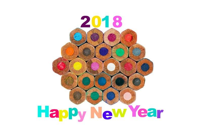与多角形铅笔的五颜六色的新年好2018年 库存图片