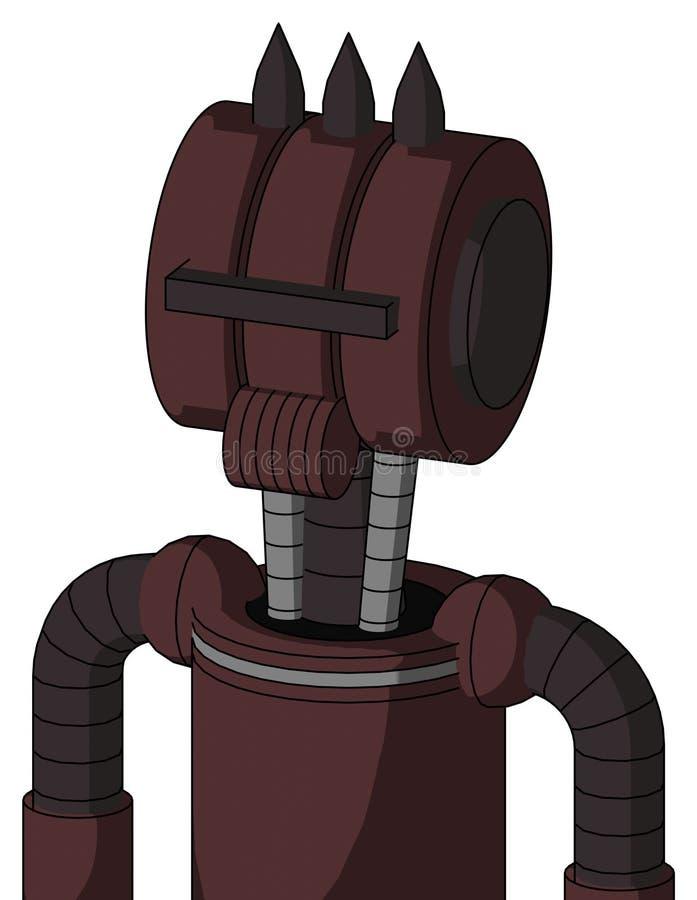 与多超环面头的紫色Droid和报告人装腔作势地说和黑遮阳独眼巨人和三个黑暗的钉 向量例证