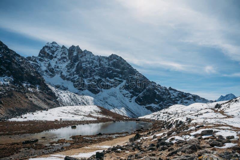 与多雪的山和湖,尼泊尔, Sagarmatha的美好的风景风景, 免版税库存照片