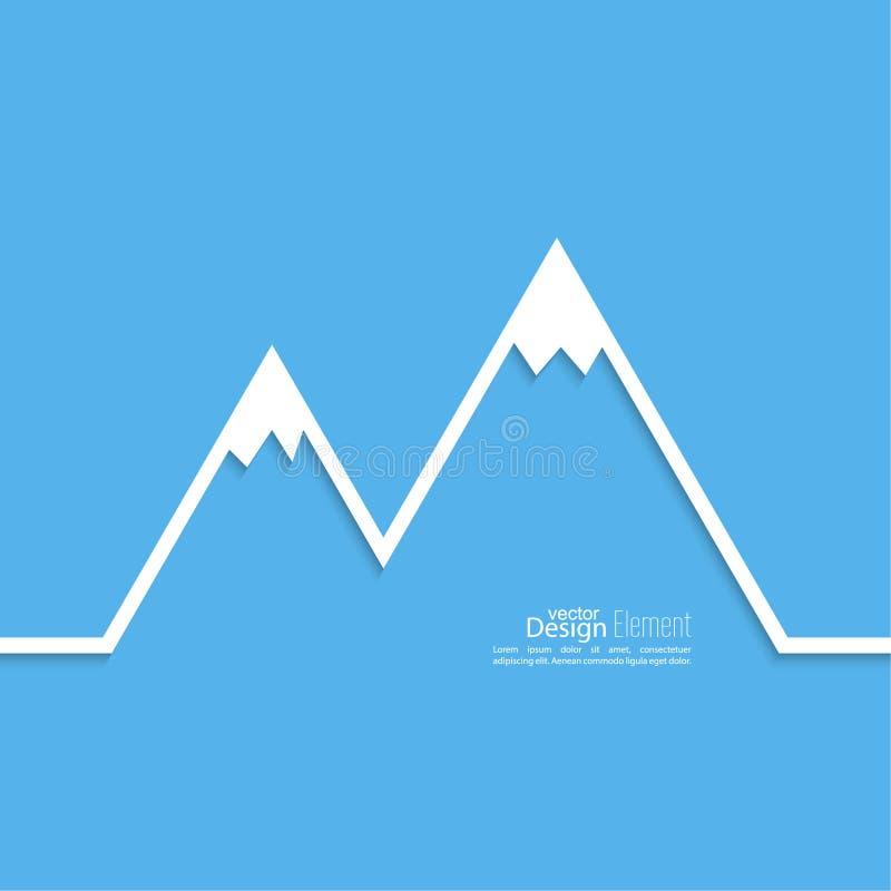 与多雪的山峰的山 向量例证