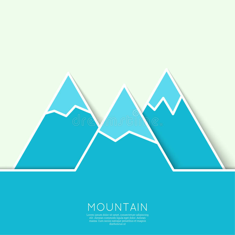 与多雪的山峰的山 库存例证
