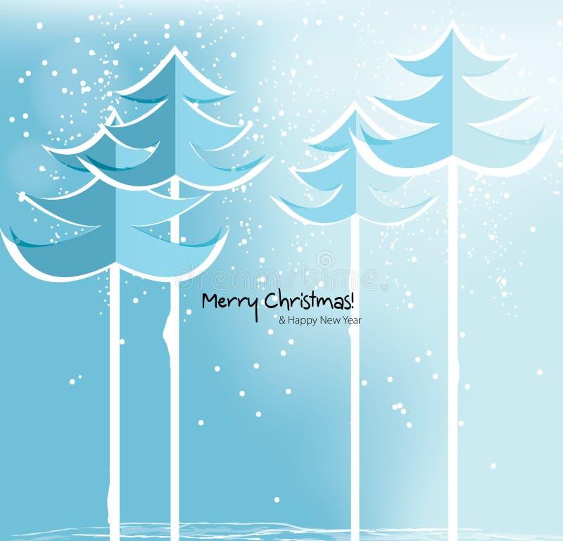 与多雪的树的抽象圣诞卡。 向量例证