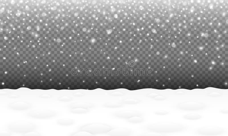 与多雪的风景和随风飘飞的雪圣诞节或新年传染媒介的落的雪背景冬天降雪空白的场面每假日 皇族释放例证