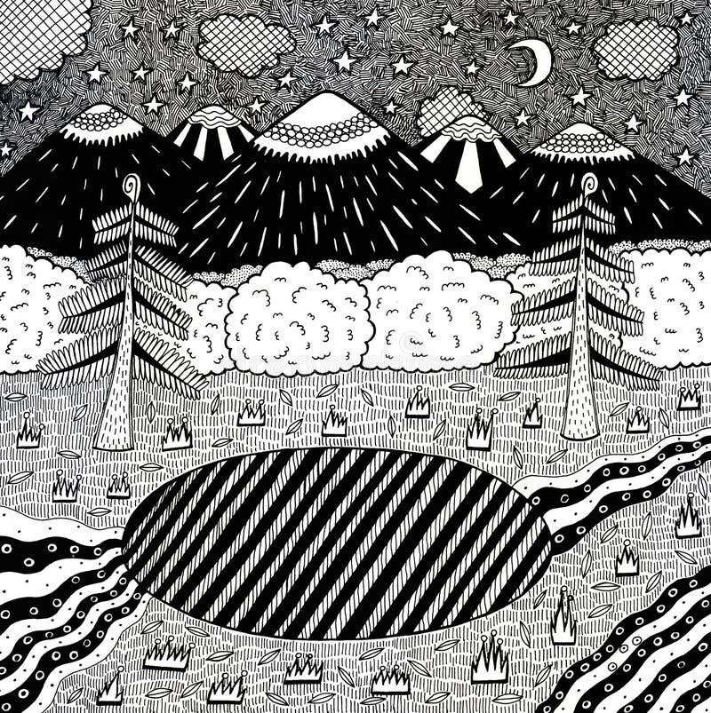 与夜森林,湖,树,山,河的夜风景 手拉的墨水例证 成人的上色页 ?? 库存例证
