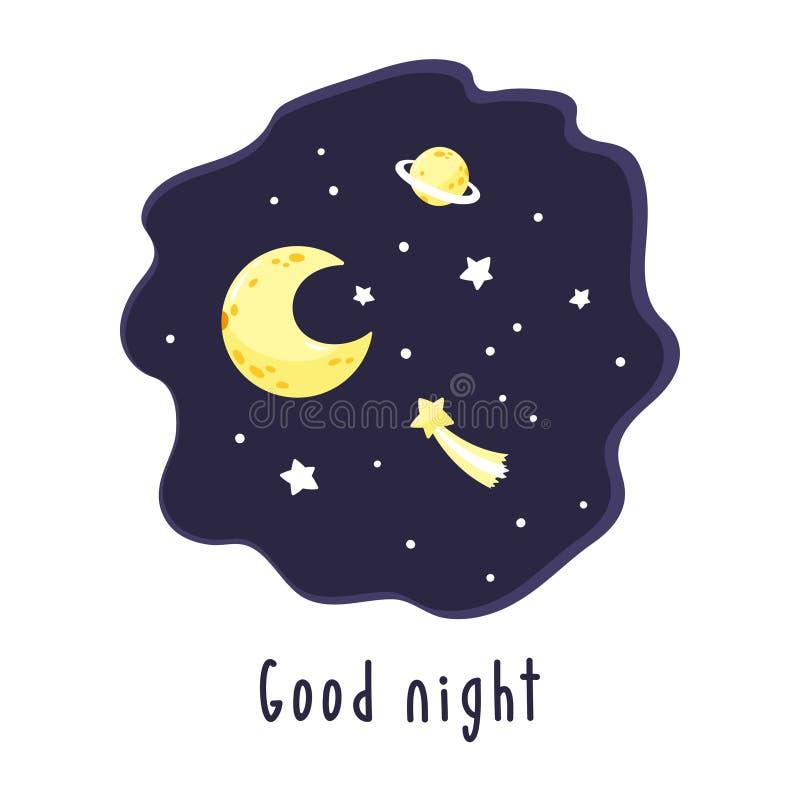 与夜空的背景、月牙和星和题字晚上好 库存例证