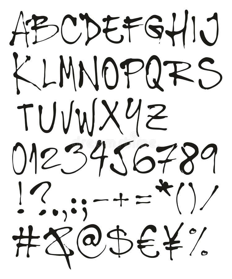 与大写字目、数字&标志的圆珠笔手写徒手画的向量字体 库存例证
