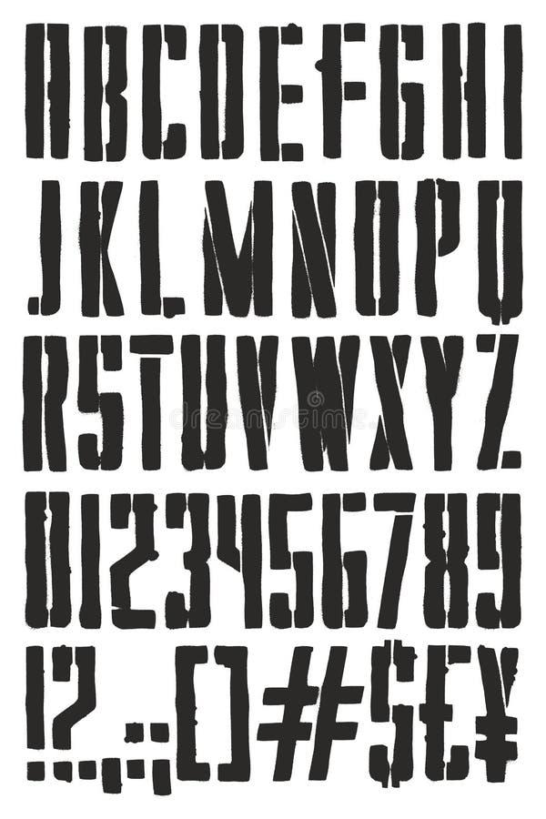 与大写字目,数字&标志的葡萄酒宣传海报钢板蜡纸喷漆徒手画的向量字体图片