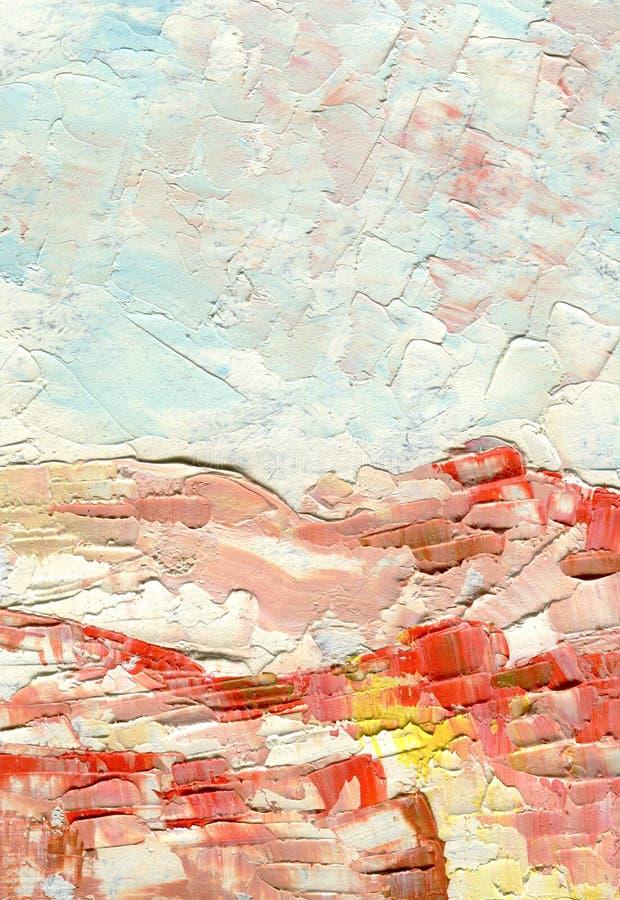 与大刷子冲程,黎明颜色,白色,浅兰和桃红色,抽象风景树荫的油画  免版税图库摄影