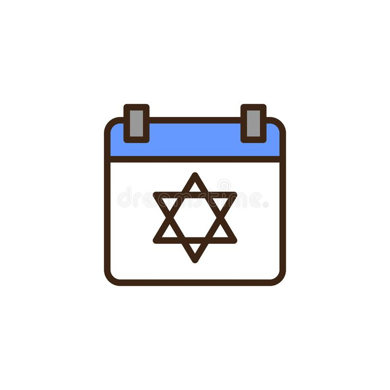 与大卫星的犹太族的日历填装了概述象 皇族释放例证