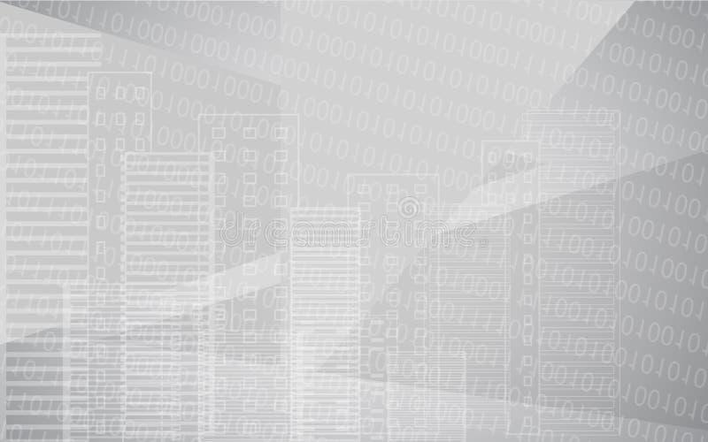 与大厦的传染媒介白色灰色城市背景 背景桥梁工程城市时钟连接前景法兰克福德国包括跨过街道结构的使并列的现代缩小的老部分步行场面摩天大楼耸立二 有二进制编码的大摩天大楼全景 技术设计 皇族释放例证