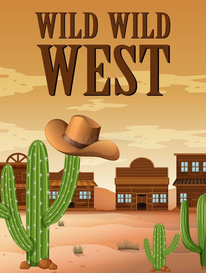 与大厦的狂放的西部海报在沙漠 皇族释放例证