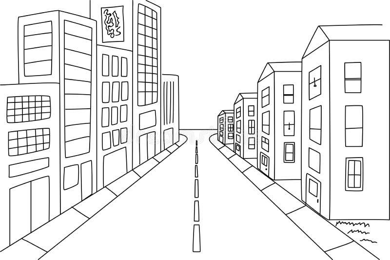与大厦的街道视图在透视 库存例证