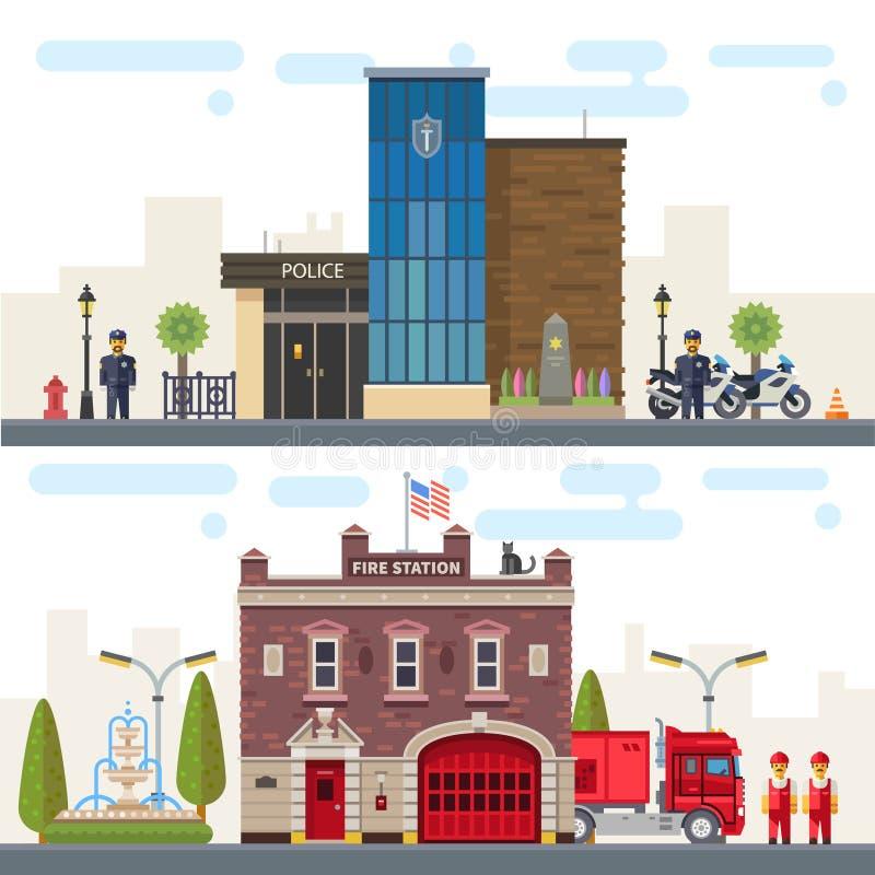 与大厦警察和消防局的风景 向量例证