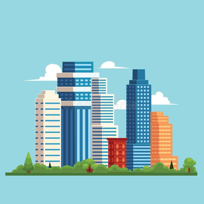 与大厦,摩天大楼的传染媒介平的都市风景 向量例证
