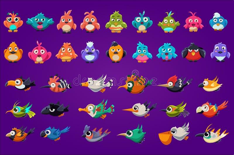 设置动画片鸟 与大发光的眼睛的滑稽的生物 赌博财产 计算机的五颜六色的图表元素或 皇族释放例证
