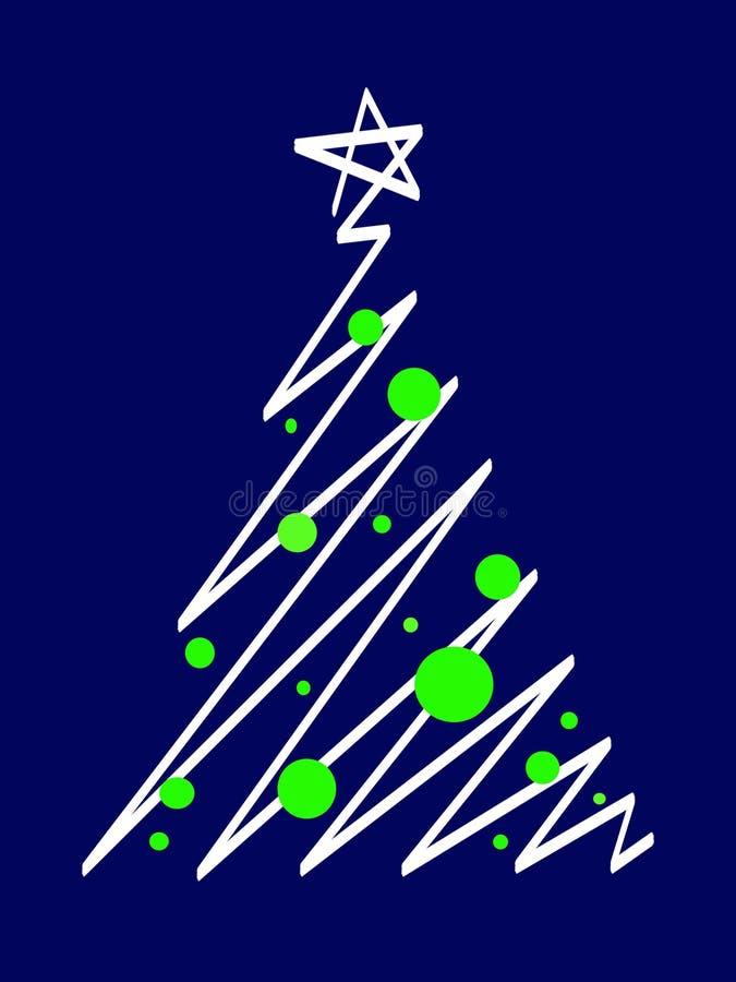 与大和小绿色和白色圣诞节星圈子和蓝色背景的风格化圣诞树 皇族释放例证