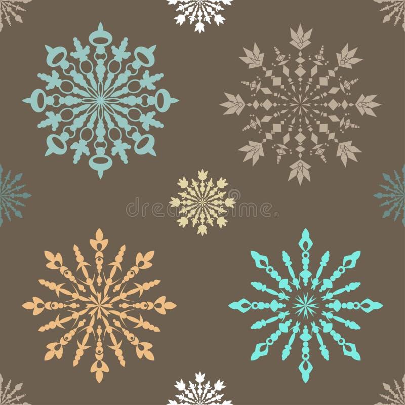 与大和小蓝色的无缝的样式仿造了雪花 向量例证
