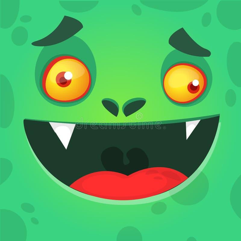 与大嘴的凉快的动画片绿色妖怪面孔 传染媒介可怕蛇神的万圣夜例证 库存例证