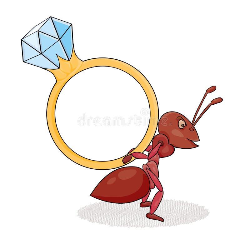 与大圆环的蚂蚁 库存例证