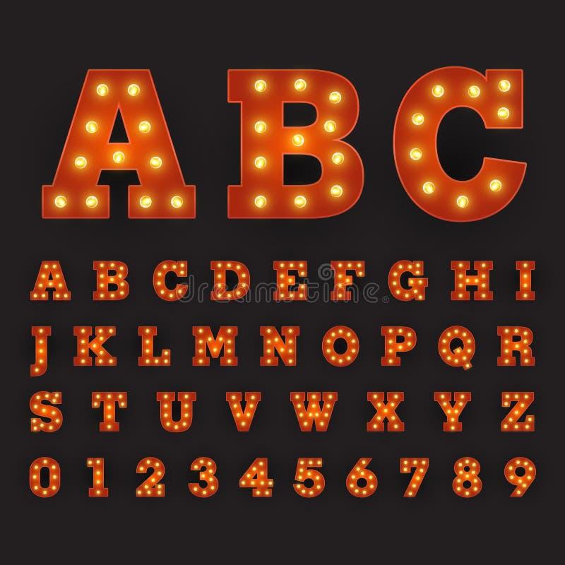 与大圆的电灯泡的按字母顺序的字体狂欢节样式 向量例证