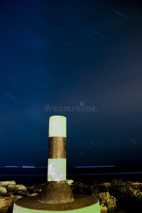 与大地测量学的标记的星足迹 库存照片
