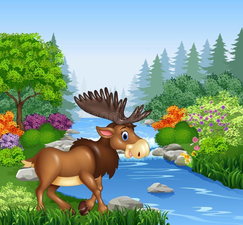 与大垫铁的动画片麋在美丽的河在森林里 向量例证