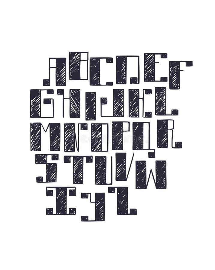 与大大胆的方形的细体的手拉的字体,手写与钢笔画 Abc在剪影舱口盖样式, iso的序列上写字 皇族释放例证