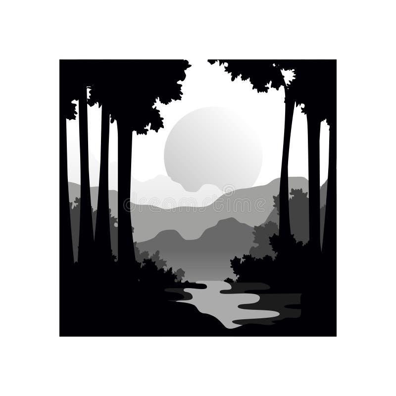 与大太阳,自然场面象林木、河和日落剪影的美好的自然风景  库存例证