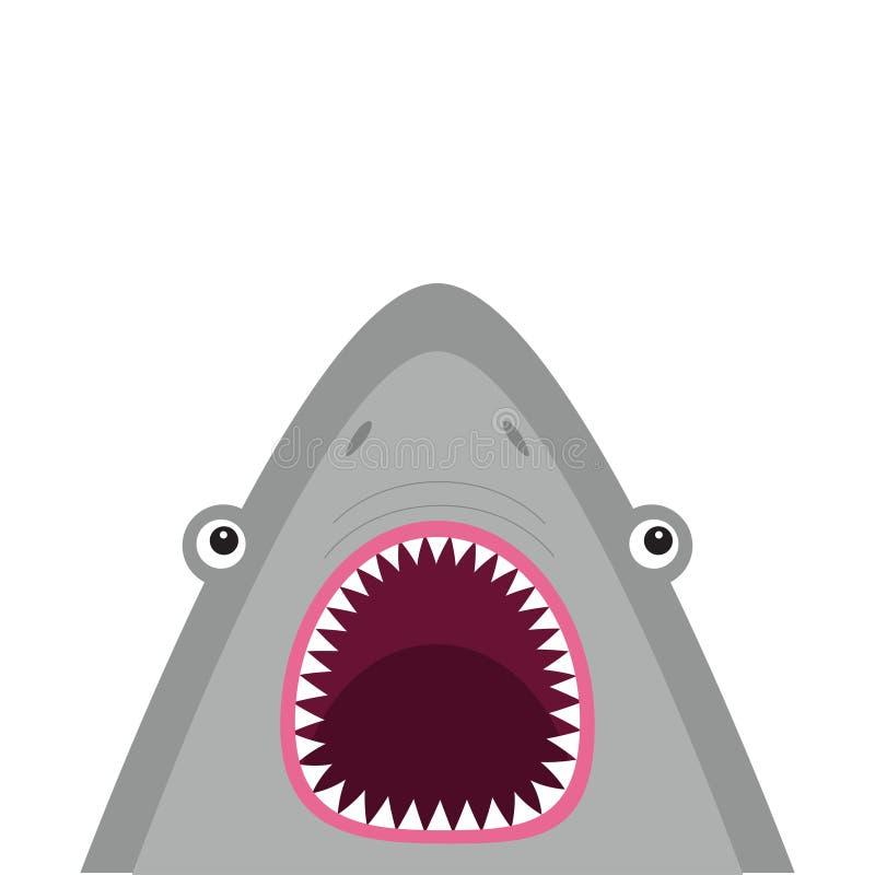 与大开放嘴和锋利的牙齿的鲨鱼顶头面孔 逗人喜爱的动画片动物字符 到达婴孩看板卡乐趣例证 海海洋野生动物 贴纸prin 库存例证