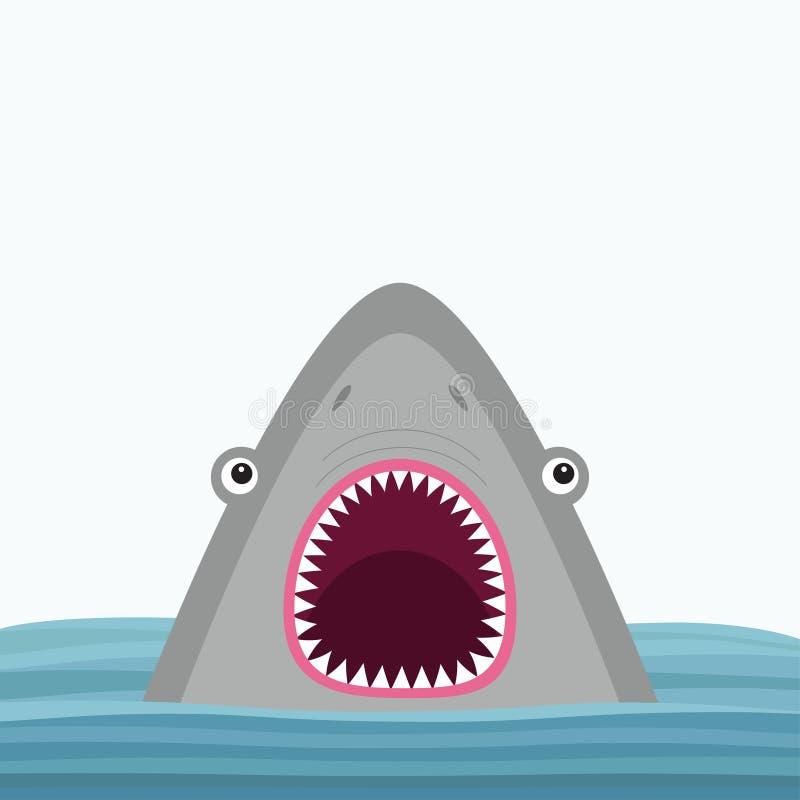 与大开放嘴和锋利的牙齿的鲨鱼顶头面孔 逗人喜爱的动画片动物字符 到达婴孩看板卡乐趣例证 海海洋野生动物 水波 库存例证