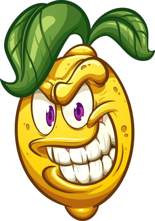 与大微笑的邪恶的动画片柠檬 库存例证