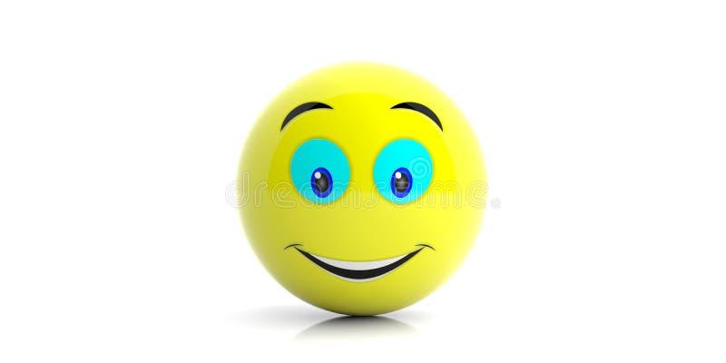 与大微笑的黄色emoji在白色背景 3d例证 库存例证