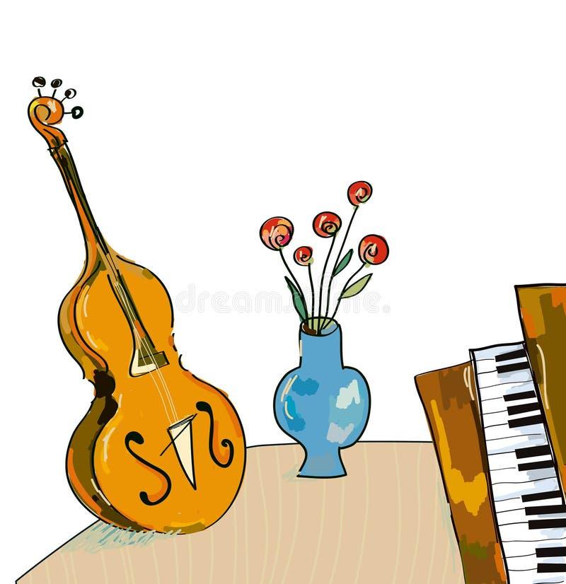 与大提琴和钢琴,手拉的设计的音乐bacgkround 向量例证