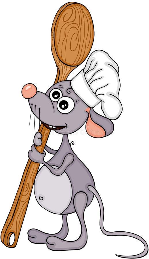 与大木匙子的逗人喜爱的厨师老鼠 向量例证