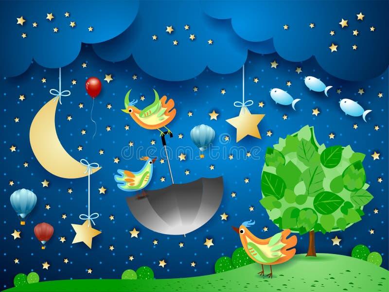 与大树、飞行的伞和鱼的超现实的夜 库存图片