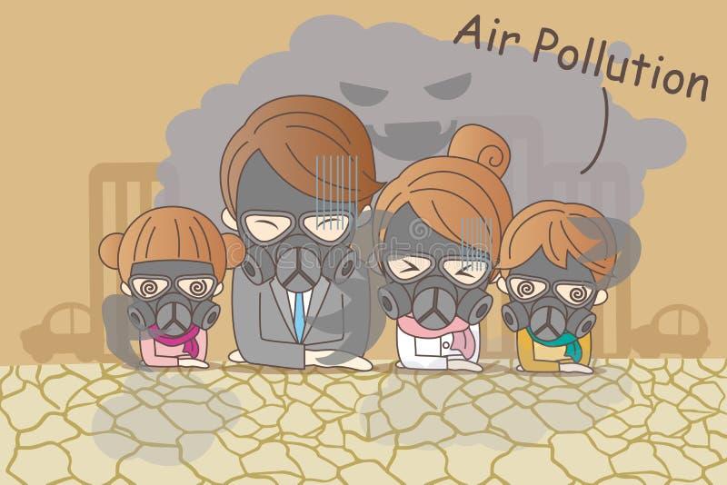 与大气污染的动画片家庭 向量例证