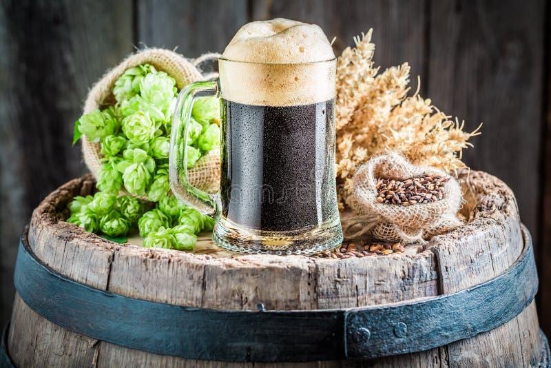 与大泡沫、蛇麻草和麦子的新鲜的黑啤酒 图库摄影