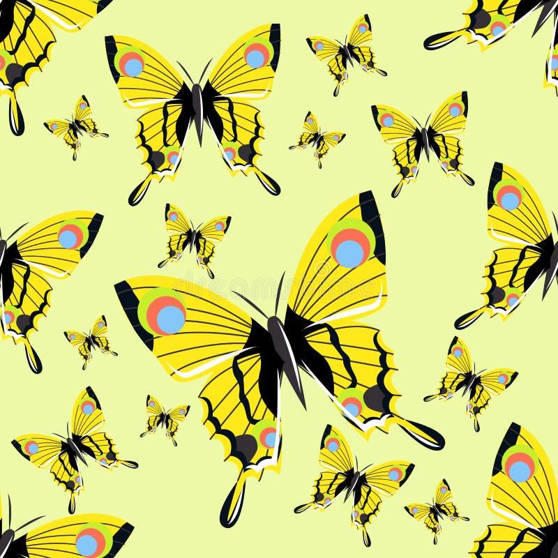 与大现实蝴蝶的无缝的样式 黄色 现实昆虫 向量例证