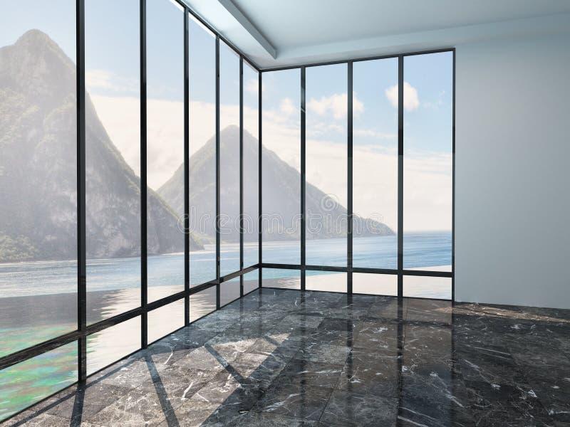 与大理石地板的空的室内部 免版税图库摄影