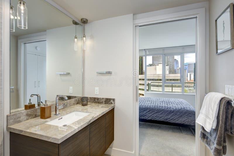 与大理石虚荣内阁的豪华时髦的公寓房卫生间设计 免版税图库摄影