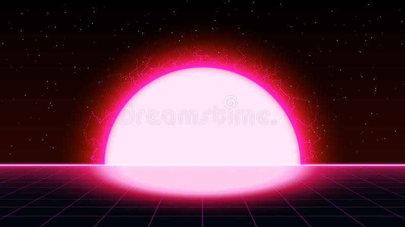 与大电太阳的Retrowave synthwave vaporwave饱和的粉色激光栅格风景在空间 Retrofuturistic 向量例证