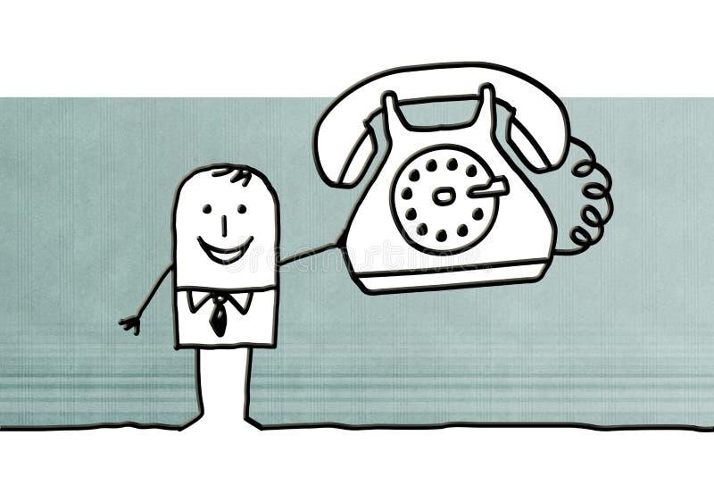 与大电话的动画片商人 库存例证