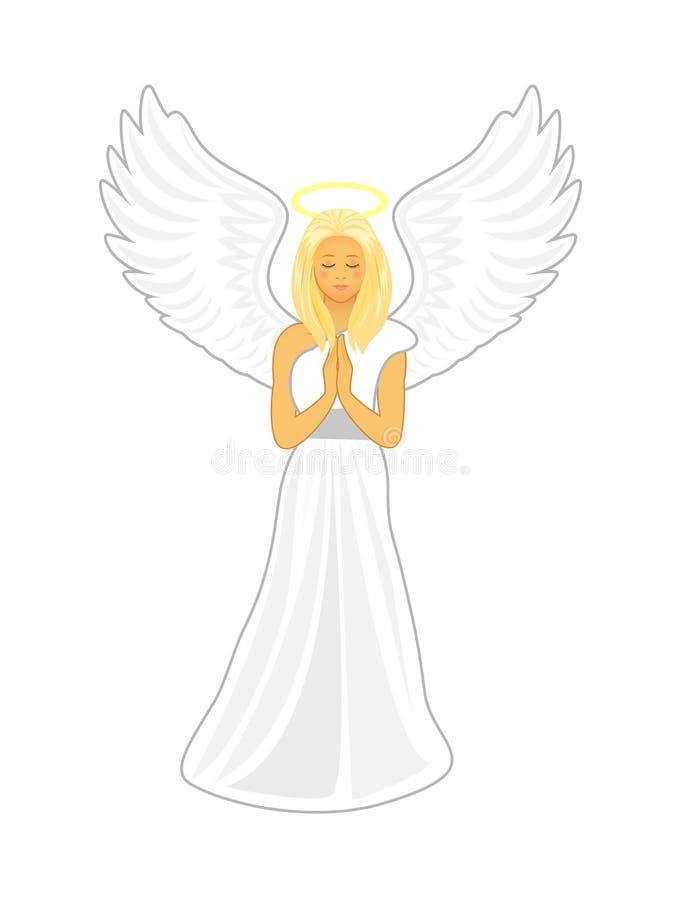 与大白色翼的天使和在她的头的一个金黄光晕 向量例证