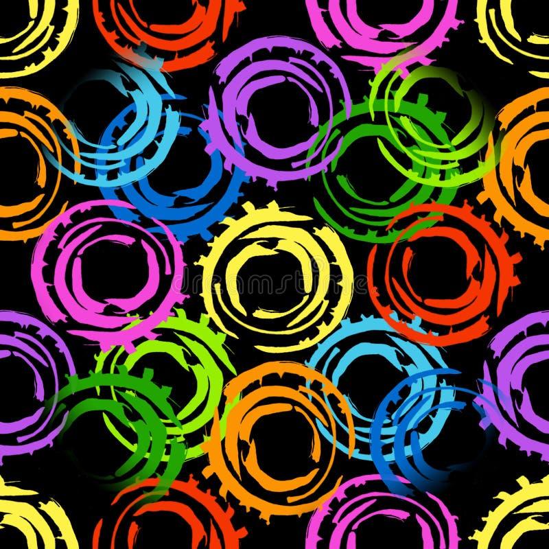 与大相交的被绘的圈子的抽象无缝的样式 在黑背景的明亮的颜色 向量例证