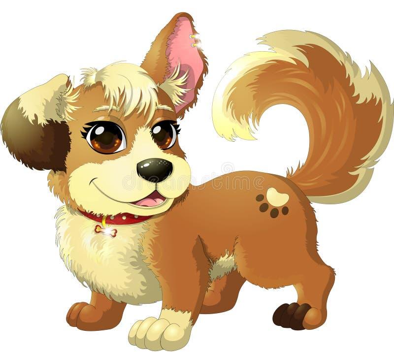 与大眼睛和耳朵的小狗,有金子earings和红色衣领的 皇族释放例证