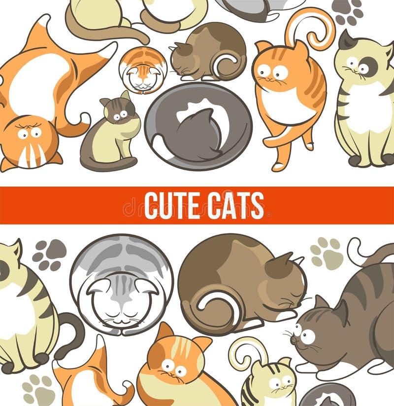 与大眼睛的逗人喜爱的猫在困或嬉戏的姿势 向量例证